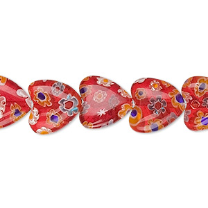bead, millefiori glass, red and multicolored, 12x12mm heart. sold per 16-inch strand.