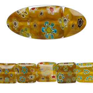 bead, millefiori glass, yellow, 10x10mm flat square. sold per 15-inch strand.