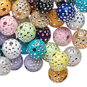 bead mix, acrylic, mixed colors, 10mm round. sold per 75-gram pkg, approximately 150-160 beads.
