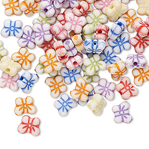 bead mix, acrylic, mixed colors, 7x5mm butterfly. sold per pkg of 100.