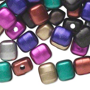 bead mix, acrylic, mixed metallic colors, 10x9mm square tube. sold per pkg of 200.