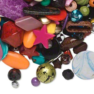 bead mix, acrylic, multicolored, 5x3mm-76x24mm mixed shapes. sold per pkg of 2 pounds.