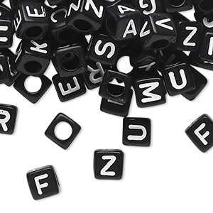 bead mix, acrylic, opaque black and white, 6x6mm cube with alphabet letters and 3.5mm hole. sold per pkg of 100.