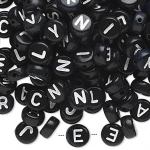 bead mix, acrylic, opaque black and white, 7mm double-sided flat round with alphabet letters. sold per pkg of 200.