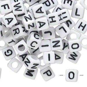 bead mix, acrylic, opaque white and black, 6x6mm cube with alphabet letters and 3.5mm hole. sold per pkg of 100.