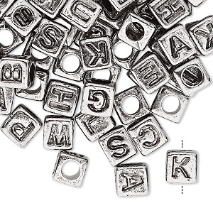 bead mix, acrylic, silver and opaque black, 6.5x6mm vertically drilled cube with alphabet letters and 3.5mm hole. sold per pkg of 100.