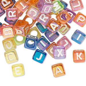 bead mix, acrylic, translucent mixed rainbow colors ab, 6x6mm cube with alphabet letters and 3.5mm hole. sold per pkg of 100.