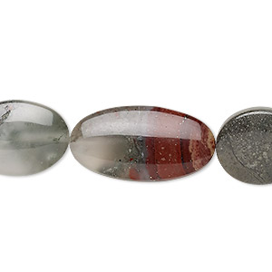 bead mix, african bloodstone (natural), 16x13.5mm / 19x13.5mm / 25x13mm flat oval, b grade, mohs hardness 6-1/2 to 7. sold per 8-inch strand, approximately 10 beads.