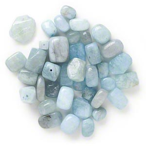 bead mix, aquamarine (dyed / heated), blue, small to medium nugget, mohs hardness 7-1/2 to 8. sold per 1/4 pound pkg, approximately 30-50 beads.