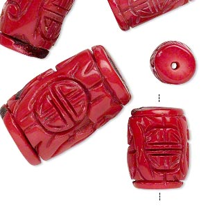 bead mix, bamboo coral (dyed), red, 19x11mm-32x21mm hand-carved barrel, b- grade, mohs hardness 3-1/2 to 4. sold per pkg of 5.