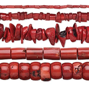 bead mix, bamboo coral (dyed), red, 4x3mm-28x14mm mixed shape, d grade, mohs hardness 3-1/2 to 4. sold per pkg of (5) 15-inch strands.