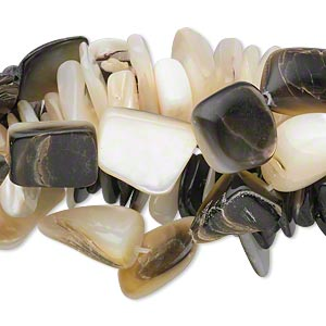 bead mix, black lip shell / brown lip shell / gold lip shell / mother-of-pearl shell (natural), extra-large chip and mini to medium nugget, mohs hardness 3-1/2. sold per pkg of (5) 15-inch strands.
