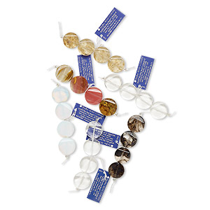 bead mix, blue moon beads, glass, 20mm flat round. sold per pkg of (6) 4-piece sets.