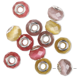bead mix, cats eye glass and silver-finished brass grommets, multicolored, 13x10mm-14x10mm faceted rondelle with 4.5-5mm hole. sold per pkg of 12.