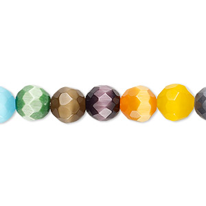 bead mix, cats eye glass, multicolored, 8mm faceted round. sold per 16-inch strand.