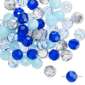 bead mix, celestial crystal, blues, 5.5-6mm faceted round. sold per pkg of 60.