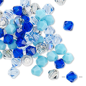 bead mix, celestial crystal, blues, 6mm faceted bicone. sold per pkg of 60.