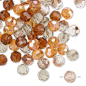 bead mix, celestial crystal, fall, 5.5-6mm faceted round. sold per pkg of 60.