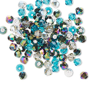 bead mix, celestial crystal, ocean, 4-4.5mm faceted bicone with 0.9-1mm hole. sold per pkg of 100.