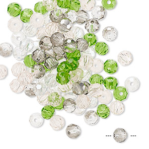 bead mix, celestial crystal, spring, 4-4.5mm faceted round with 1mm hole. sold per pkg of 100.