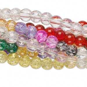 bead mix, crackle glass, multicolored, 5-6mm round. sold per pkg of ten 15-inch strands.