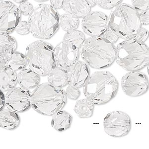 bead mix, czech fire-polished glass, clear, 4-10mm faceted round. sold per 50-gram pkg, approximately 75-130 beads.