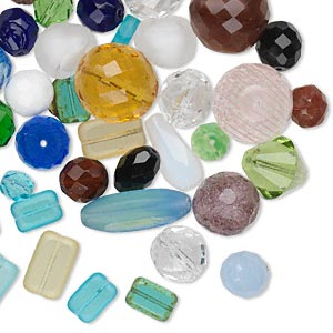 bead mix, czech fire-polished glass, mixed colors, 8mm-27x12mm mixed shape. sold per 100-gram pkg, approximately 40 beads.