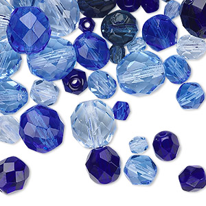 bead mix, czech fire-polished glass, sapphire blue, 4-10mm faceted rounds. sold per 50-gram pkg, approximately 75-130 beads.
