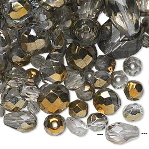 bead mix, czech fire-polished glass, smoke and metallic bronze, 4x4mm-20x15mm faceted round / faceted teardrop / faceted round tube. sold per 1/4 pound pkg, approximately 260 beads.