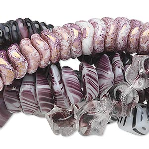 bead mix, czech glass, light purple and dark purple, 6mm-18x13mm multi-shapes. sold per pkg of (5) 16-inch strands.