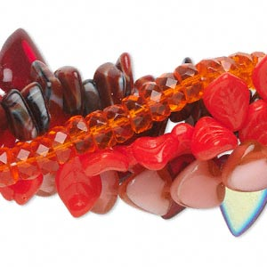 bead mix, czech glass, mixed colors, 8x4mm-18x13mm multi-shapes. sold per pkg of (5) 16-inch strands.