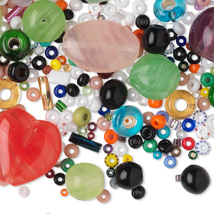 bead mix, czech pressed glass, mixed colors, 2-16mm mixed size and shape. sold per pkg of 100 grams.
