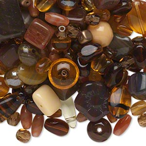 bead mix, czech pressed glass, mixed colors, 2x2mm-17x16mm mixed shape. sold per 1/4 pound pkg, approximately 210 beads.