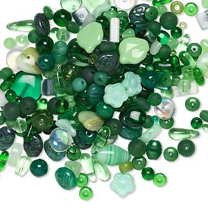 bead mix, czech pressed glass, mixed colors, 4x2mm-15x12mm mixed shape. sold per 1/4 pound pkg, approximately 300 beads.