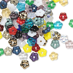 bead mix, czech pressed glass, mixed colors, 5x2mm flower rondelle. sold per pkg of 100.