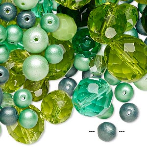 bead mix, fire-polished glass and glass pearl, mixed colors, 4-14mm round and faceted round. sold per 1/2 pound pkg, approximately 210 beads.