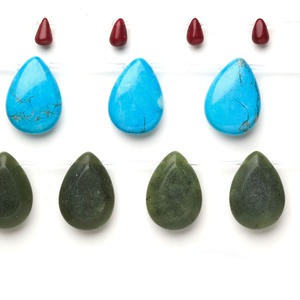 bead mix, gemstone and glass (natural / dyed / manmade), 5-35mm teardrop, c grade. sold per pkg of (3) 15-inch strands.