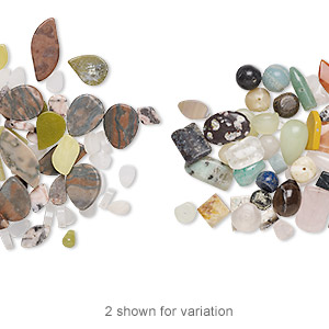 bead mix, gemstone (natural / dyed / manmade) and glass, 8x6mm-40x30mm mixed shapes, c grade. sold per pkg of 1/4 pound, approximately 50-60 beads.