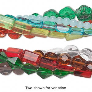 bead mix, glass, mixed colors, 3-20mm mixed shapes. sold per pkg of (5) 16-inch strands.