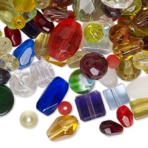 bead mix, glass, mixed colors, 4mm-27x8mm multi-shape. sold per 1/4 pound pkg, approximately 210 beads.
