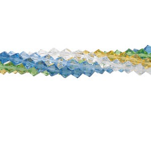 bead mix, glass, mixed colors, 6x6mm faceted bicone. sold per pkg of (5) 16-inch strands.