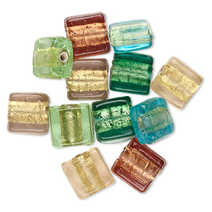 bead mix, glass, mixed colors with gold-colored foil, 10x10mm flat square. sold per pkg of 12.