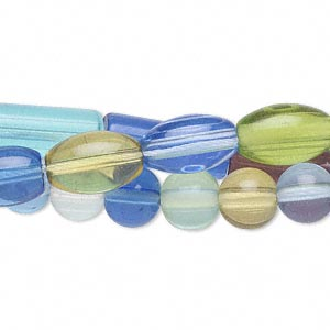 bead mix, glass, multicolored, 15x6mm round tube/14x8mm oval/8mm round. sold per pkg of (3) 16-inch strands.