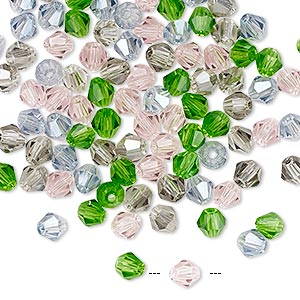 bead mix, glass, spring, 4mm faceted bicone with 0.9-1mm hole. sold per pkg of 100.