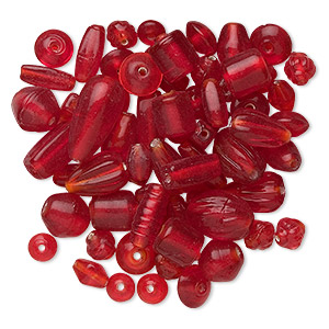 bead mix, glass, transparent red, 7x4mm-21x11mm mixed shape. sold per 50-gram package, approximately 60-100 beads.