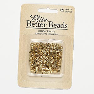 bead mix, gold-finished steel, 4mm cutout round / 6mm cutout round with 2.5mm hole / 8x4mm cutout round tube with 3mm hole. sold per pkg of 82.