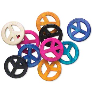 bead mix, howlite (imitation), mixed colors, 35mm round peace sign. sold per pkg of 10.