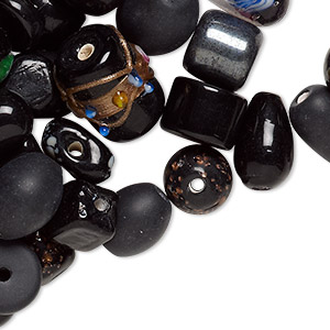 bead mix, lampworked glass, black, 7x4mm-14x11mm mixed shape with 1.1-2.3mm hole. sold per 100-gram pkg, approximately 60-100 beads.