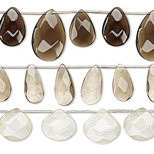 bead mix, lemon quartz / smoky quartz / lemon smoky quartz (natural / heated), 16x16mm-25x16mm hand-cut top-drilled faceted puffed teardrop, mohs hardness 7. sold per pkg of (3) 8-inch strands.