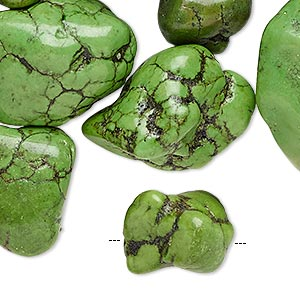 bead mix, magnesite (dyed / stabilized), apple green, small to extra-large nugget, mohs hardness 3-1/2 to 4. sold per 1/2 pound pkg, approximately 30 beads.